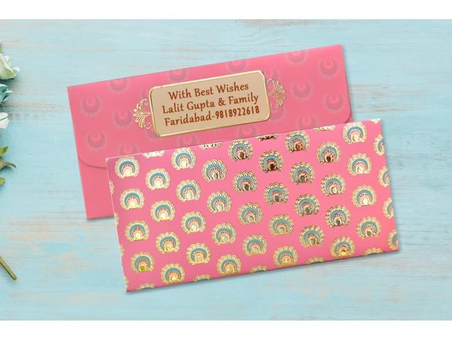 Coral Shagun Envelope Personalised- Pack Of 12