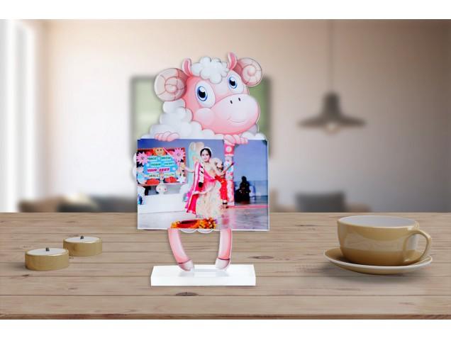 Baba Baba Pink Sheep Acrylic Cartoon Photo Stand
