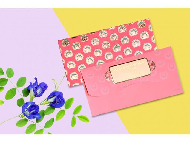 Peach Color Personalised Shagun Envelopes Premium  - Pack of 20