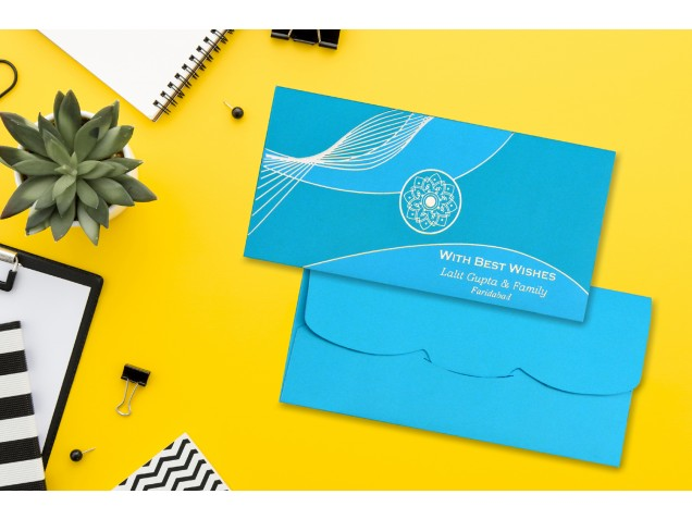 Ocean Green & Blue Personalised Shagun Envelope Premium - Pack of 20