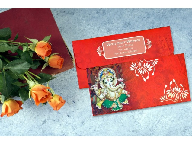 Shree Ganesha Personalised Shagun Envelopes - Pack of 20