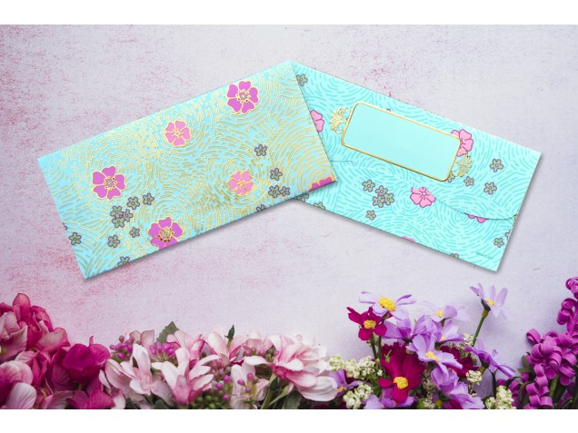 Finger Print with Flowers Shagun Envelope  - Pack of 12