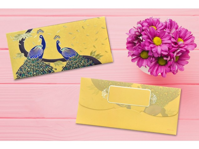 Yellow Peacocks Design Shagun Envelope - Pack of 12(With Luxor Marker)