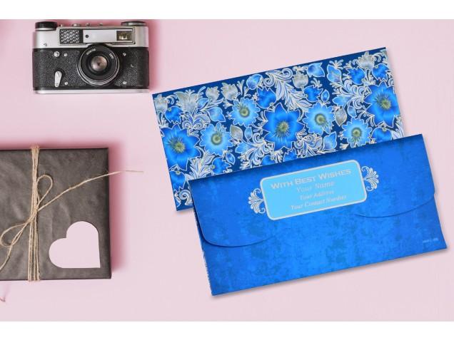 Blue Floral Personalised Shagun Envelopes - Pack of 20