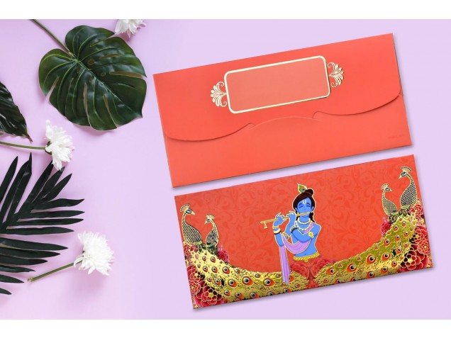 Shree Krishna Designer Shagun Envelopes - Pack of 12