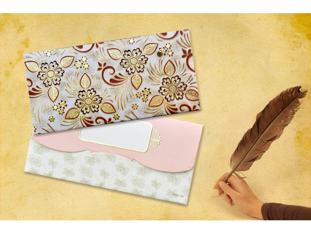 Beige Floral Shagun Envelope - Pack of 12(With Luxor Marker)