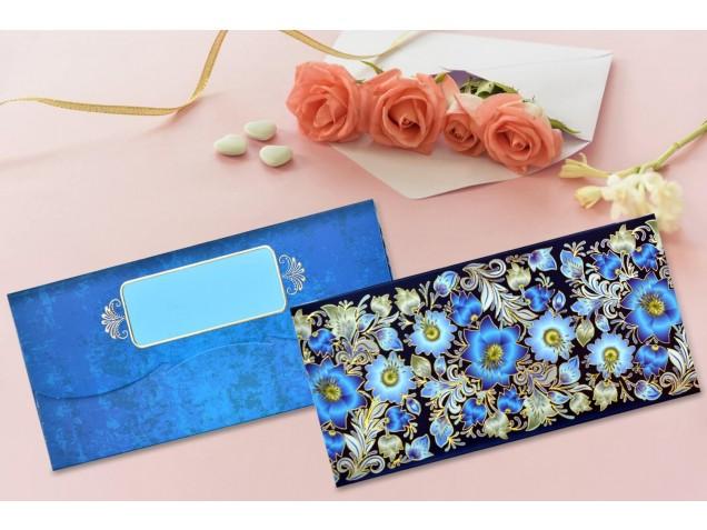 Blue Floral Shagun Envelope - Pack of 12