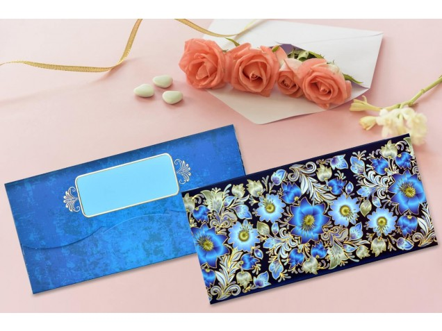 Blue Floral Shagun Envelope - Pack of 12(With Luxor Marker)