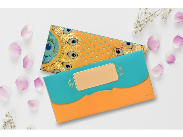 Mustard Peacock feather Design Shagun Envelope -Pack of 12(With Luxor Marker)