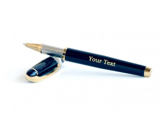 Amber Metal Black Personalised Pen
