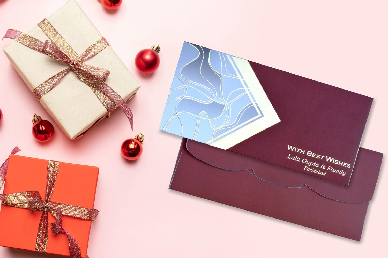 Maroon Delicate Design Personalised Shagun Envelope - Pack of 20