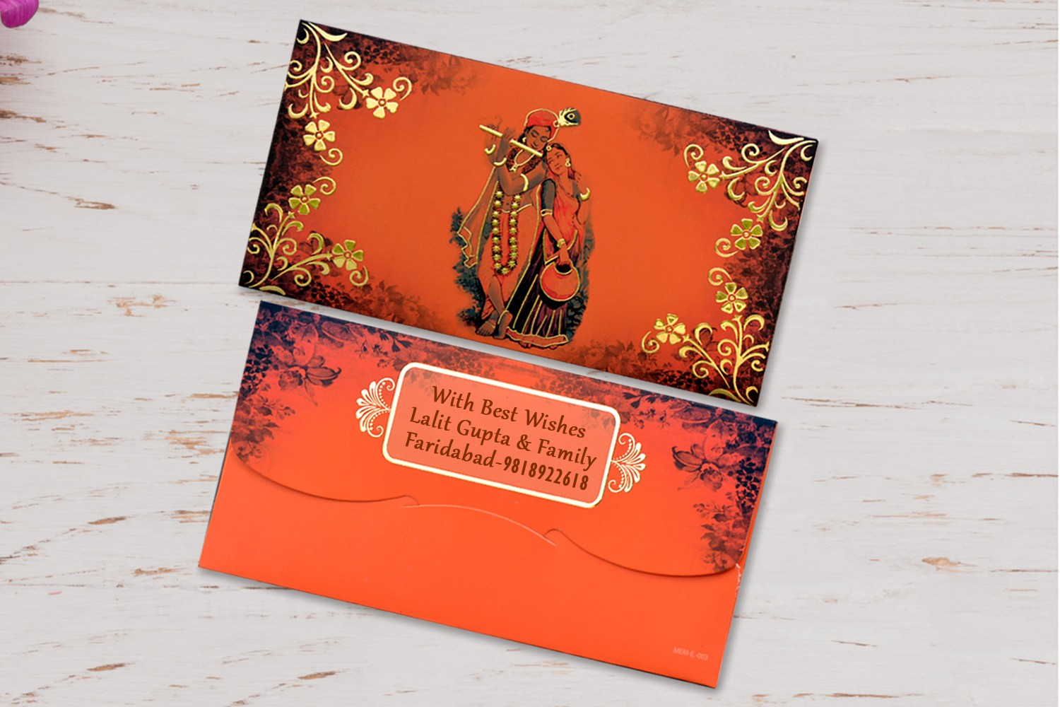 Radha Krishna Shagun Envelopes Personalised- Pack of 12