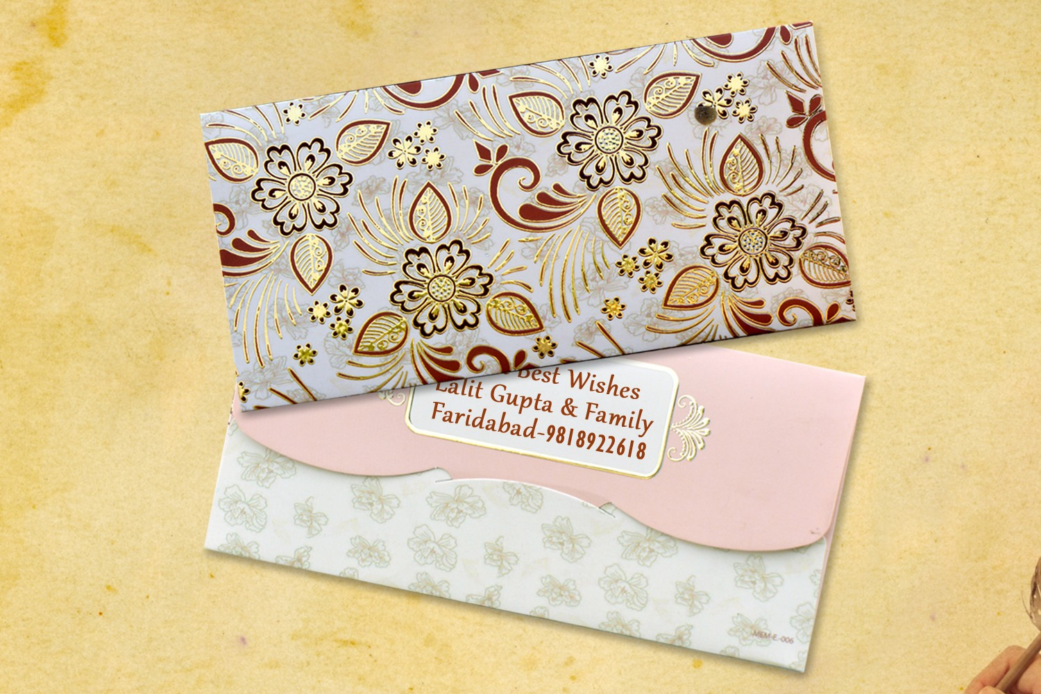 Beige Floral Shagun Envelopes Personalised- Pack of 12
