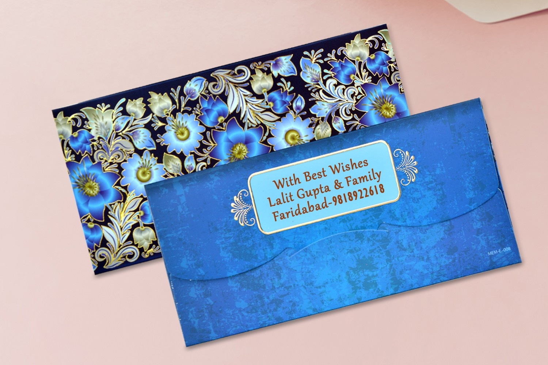 Blue Floral Shagun Envelopes Personalised- Pack of 12