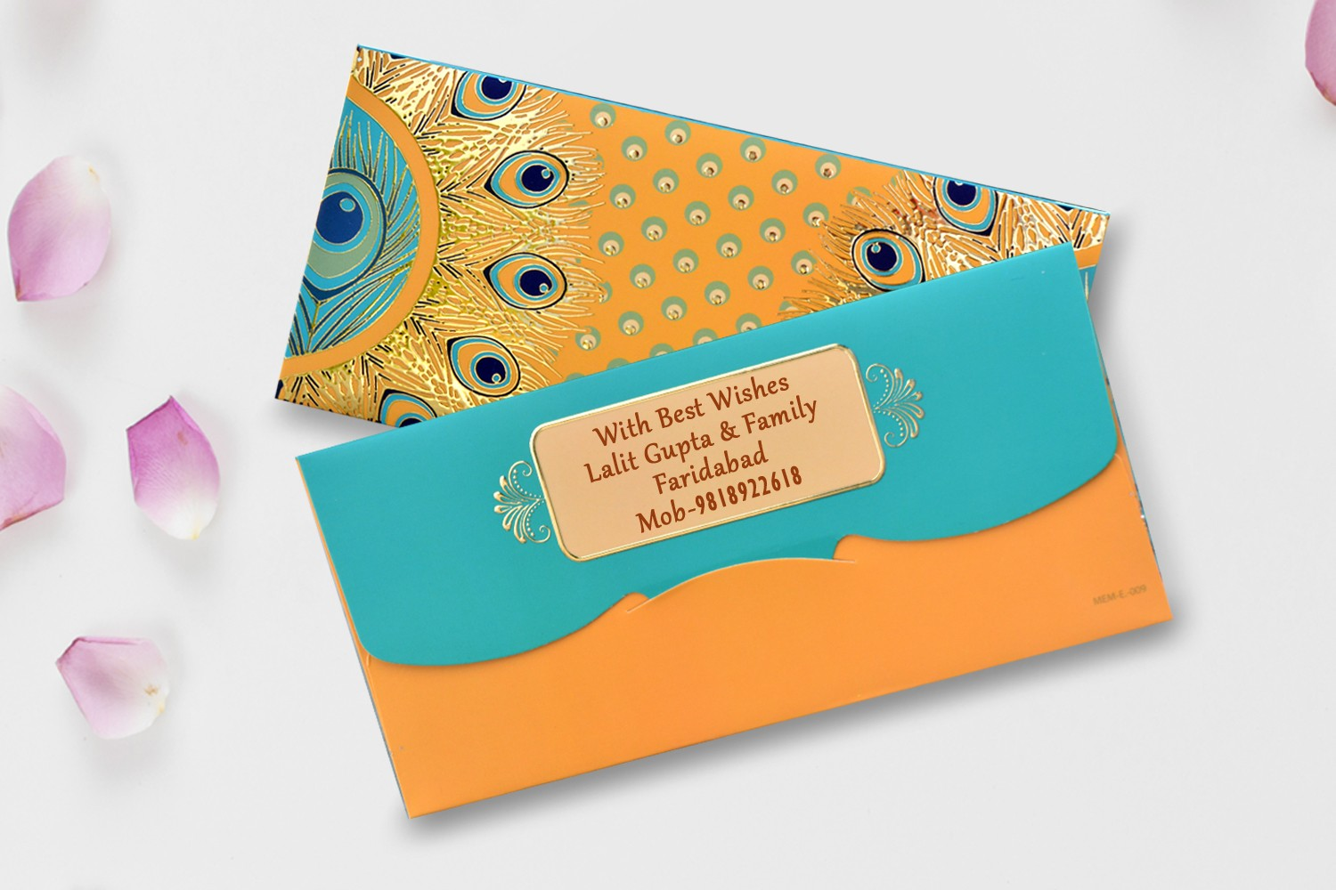 Mustard Peacock Feather Shagun Envelope Personalised- Pack Of 12