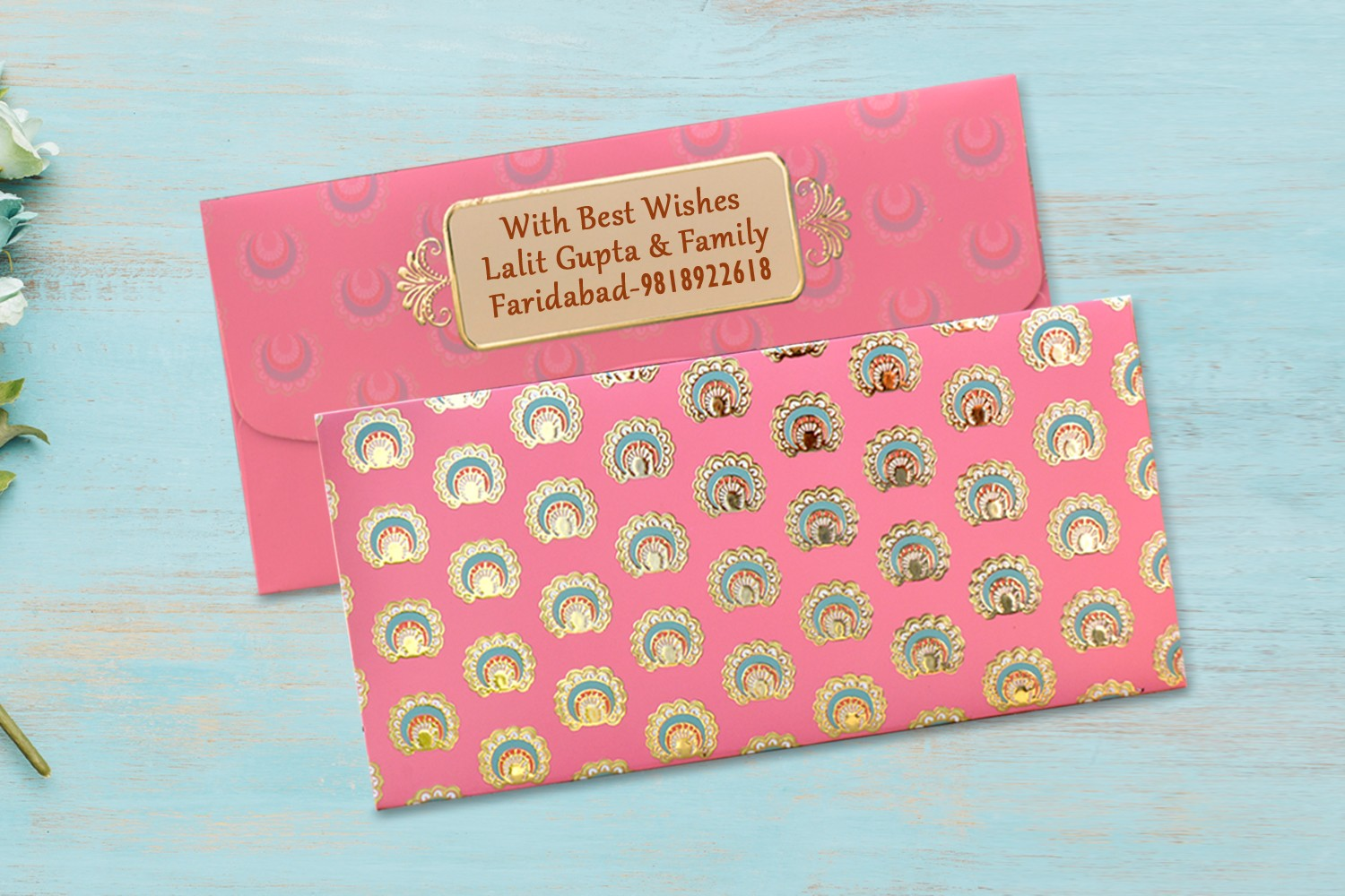 Coral Shagun Envelope Personalised- Pack Of 12