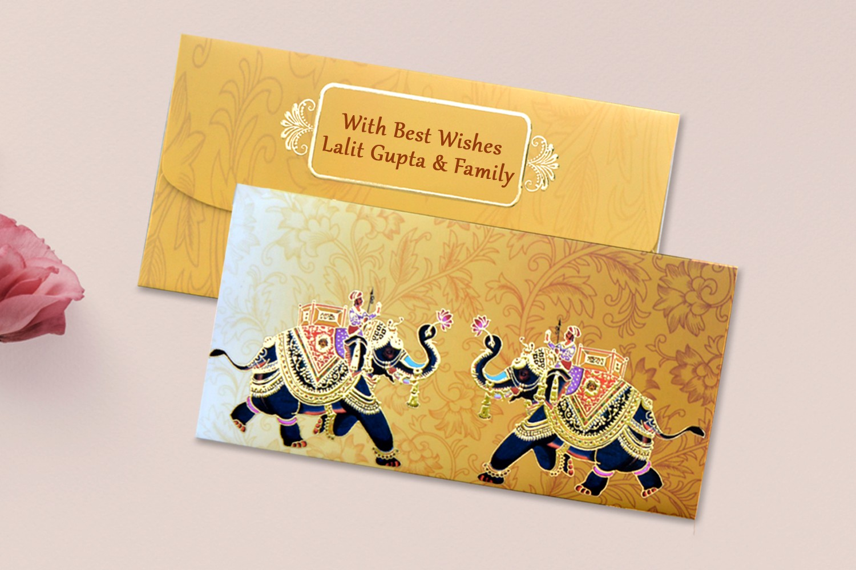 Rajwada Theme Shagun Envelope Personalised- Pack of 12