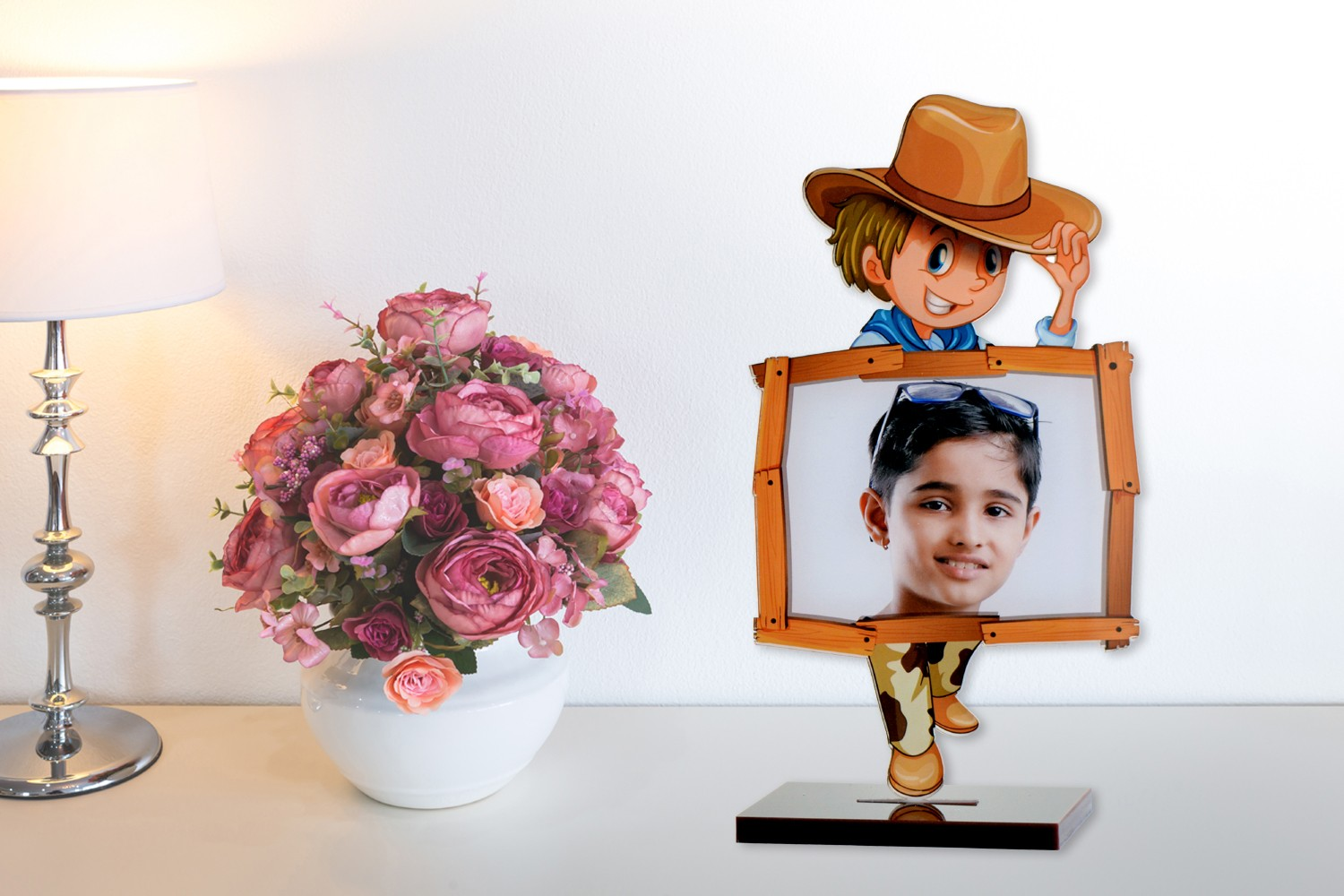 Cowboy Acrylic Cartoon Photo Stand