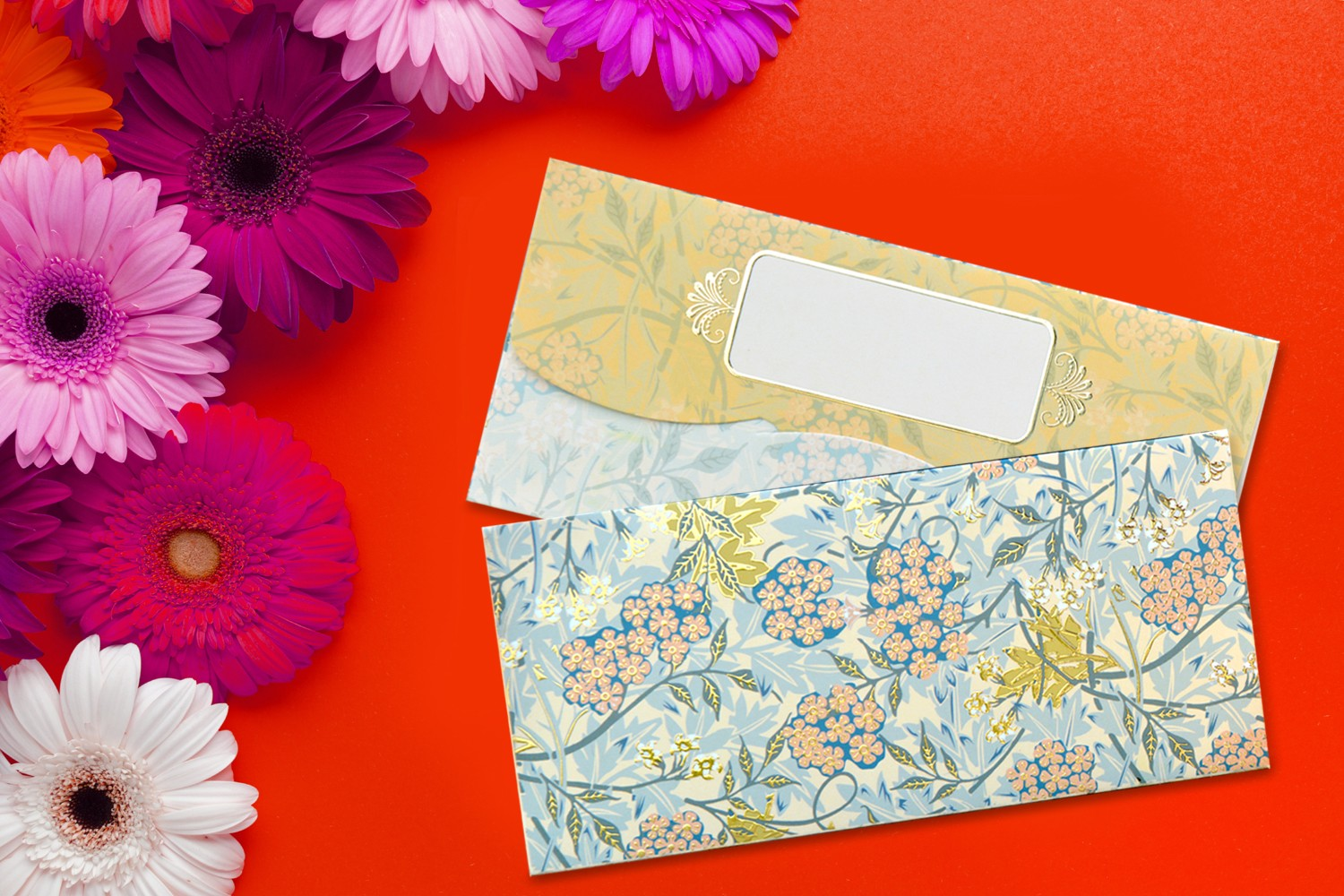 Forest Floral Design Shagun Envelopes - Pack of 12(With Luxor Marker)