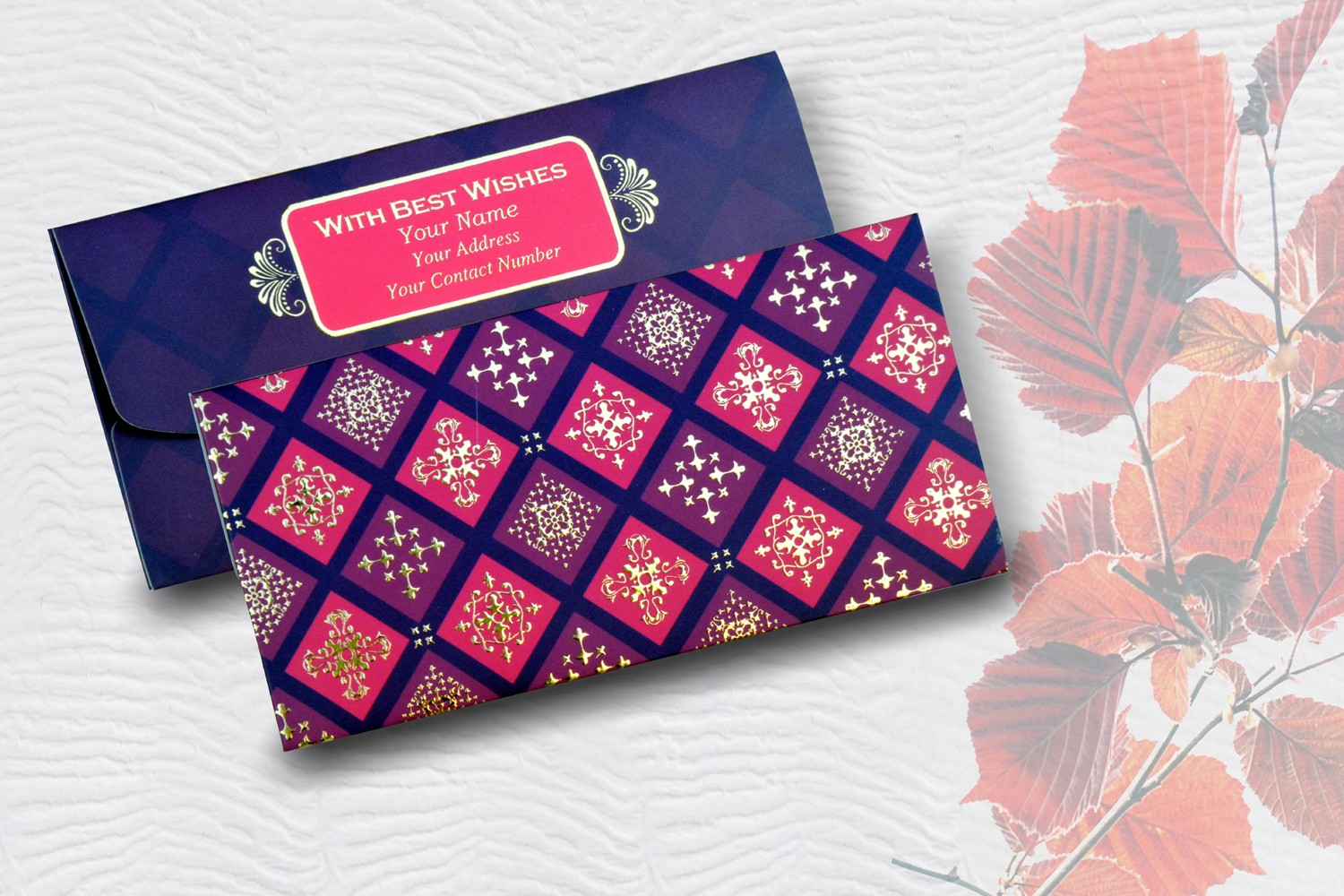 Red & Maroon Box Design Personalised Shagun Envelope - pack of 20
