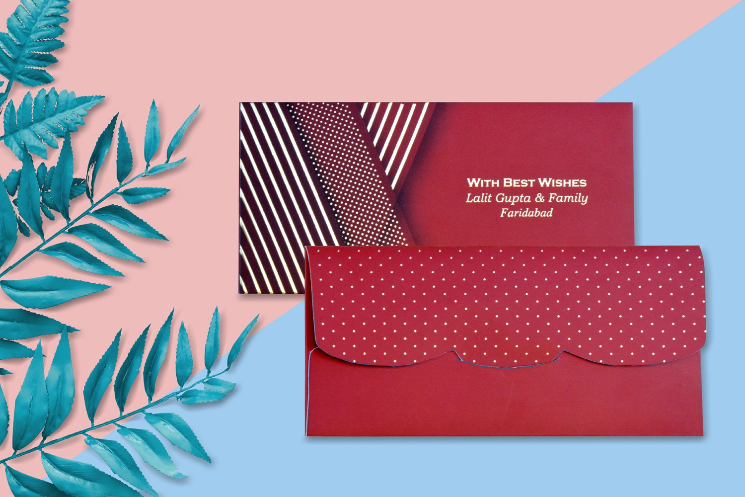 Maroon Dotted & Box Design Personalised Shagun Envelope - Pack of 20
