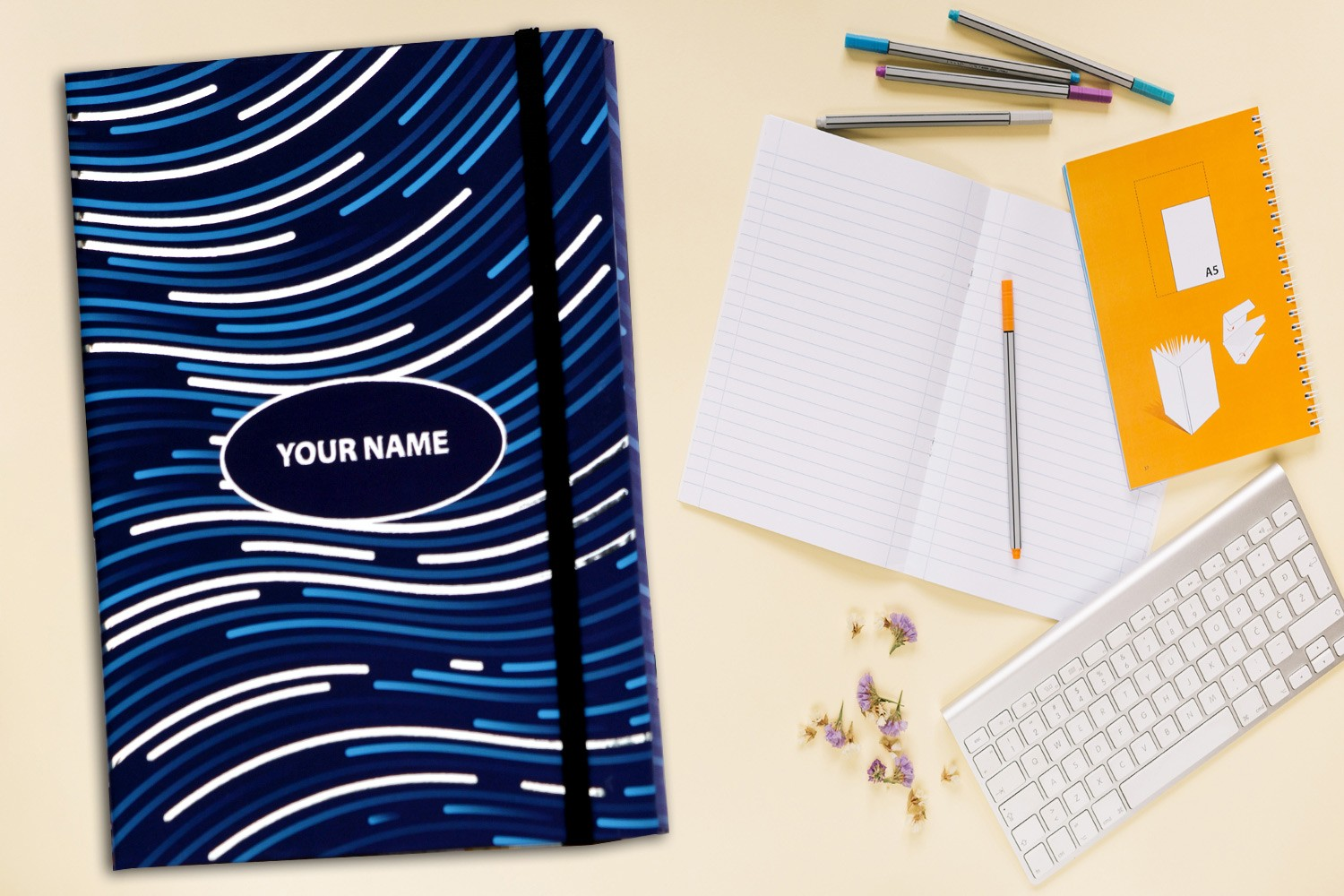 Blue & Silver Personalised Notebook