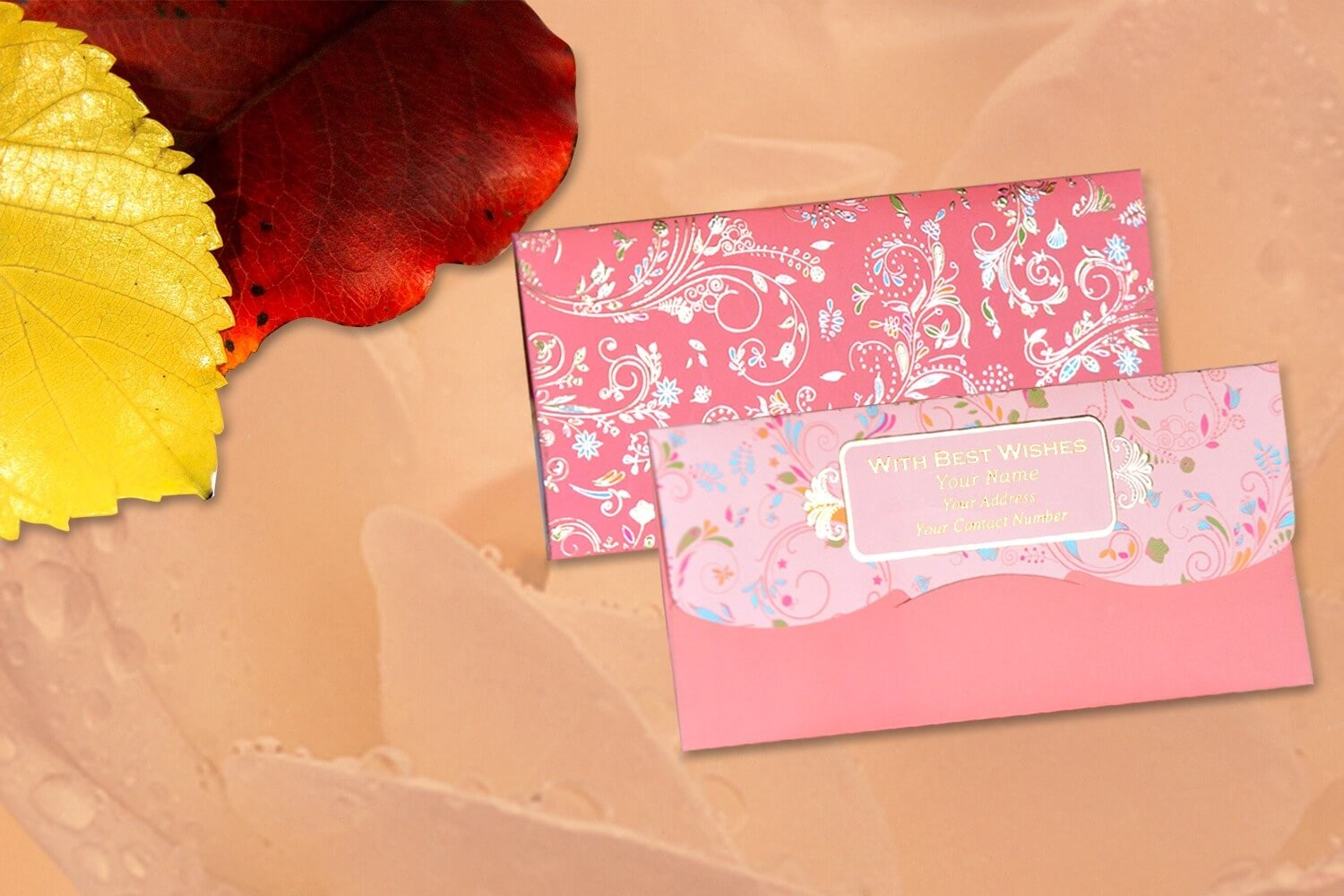 Peach Blossom Personalised  Shagun Envelopes - Pack of 20