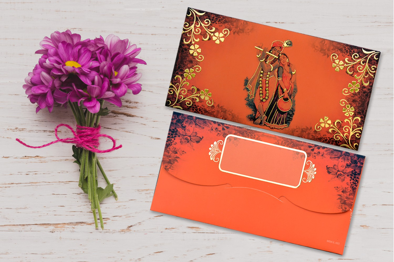Radha Krishna Designer Shagun Envelopes - Pack of 12(With Luxor Marker)