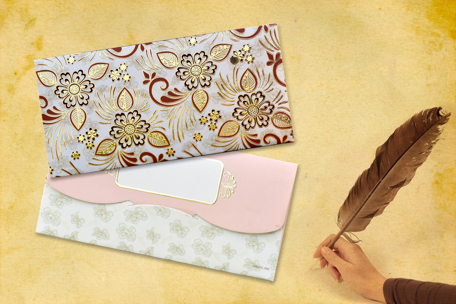 Beige Floral Shagun Envelope - Pack of 12