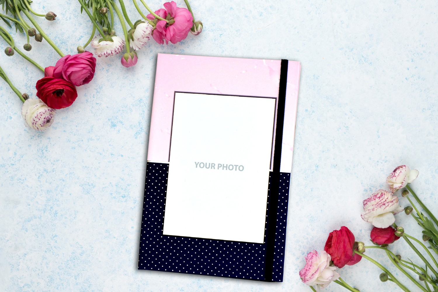 Marble & Blue Dots with Picture Personalised Notebook