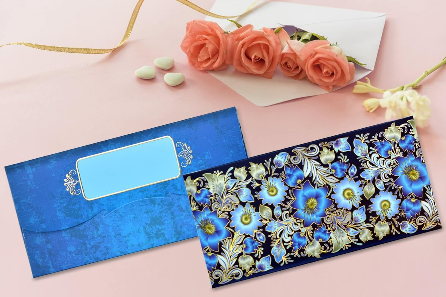 Blue Floral Shagun Envelope - Pack of 12
