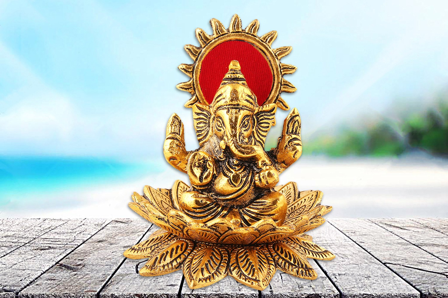 Ganesh Ji Figurine with Lotus