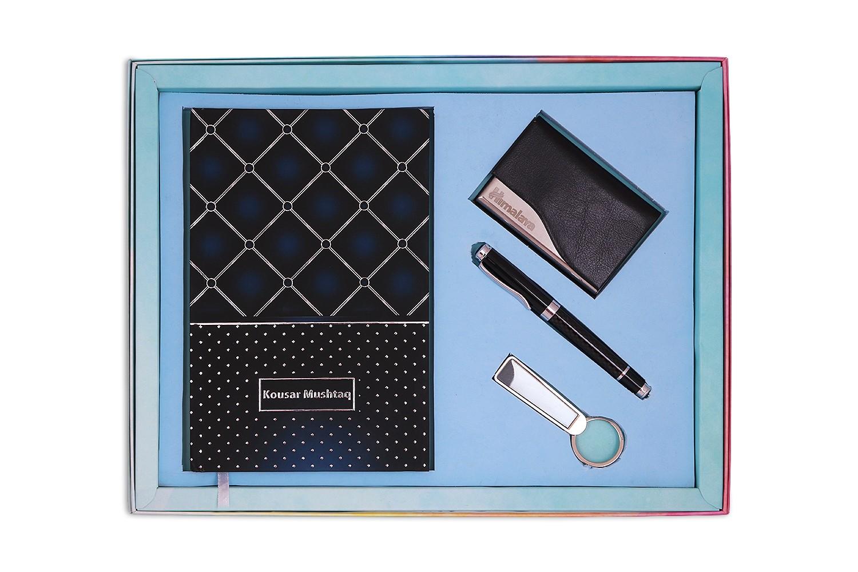 Blue Notebook,Keychain, CardHolder & Pen - Combo 4