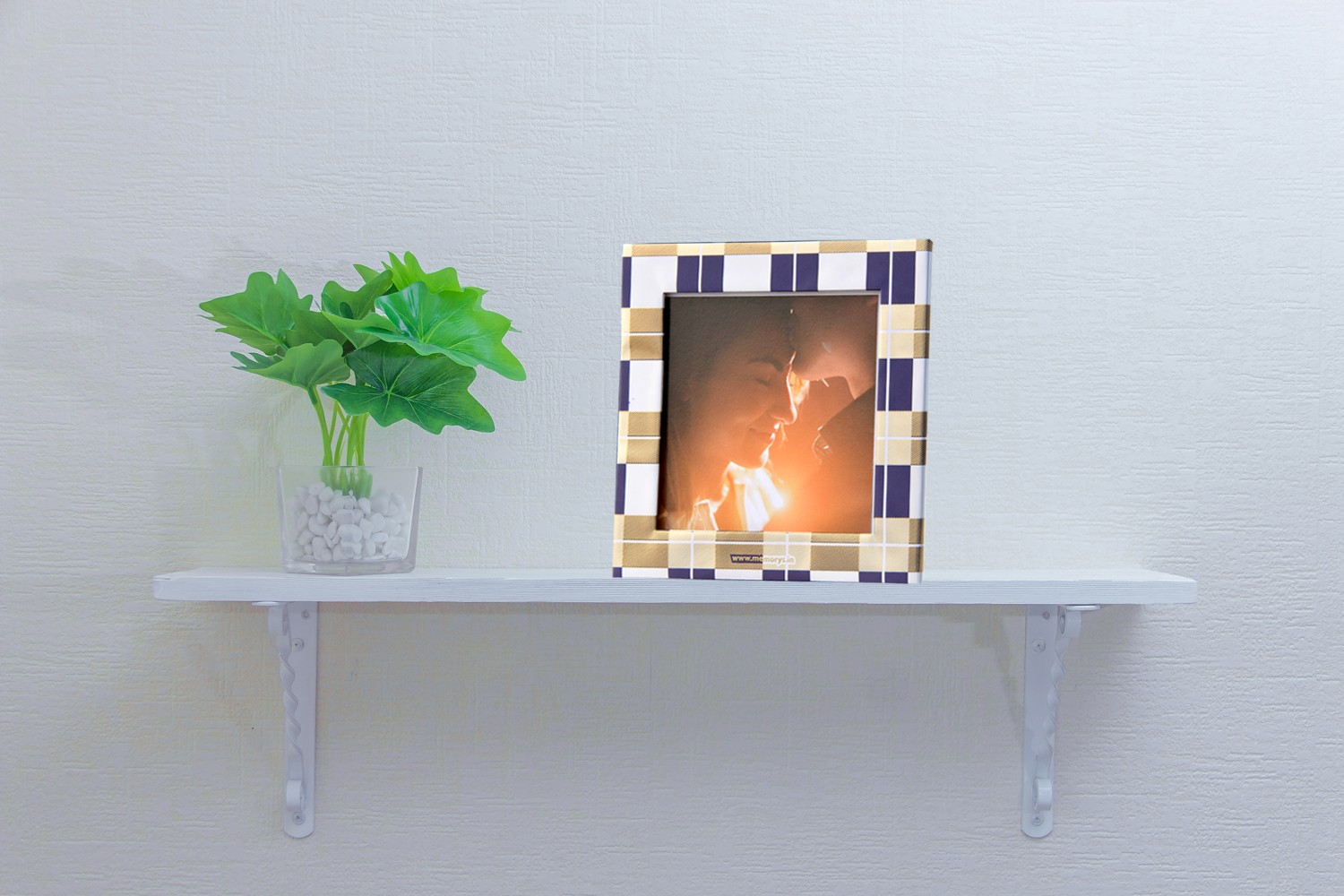 Blue and Gold Checks Photo Frame