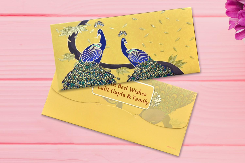 Yellow Peacocks Shagun Envelope Personalised- Pack of 12