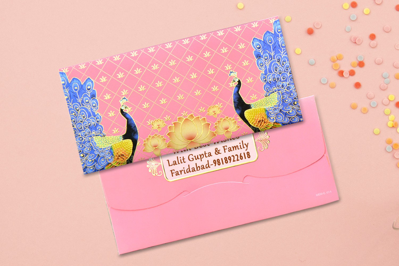 Dancing Peacocks Shagun Envelope Personalised- Pack of 12