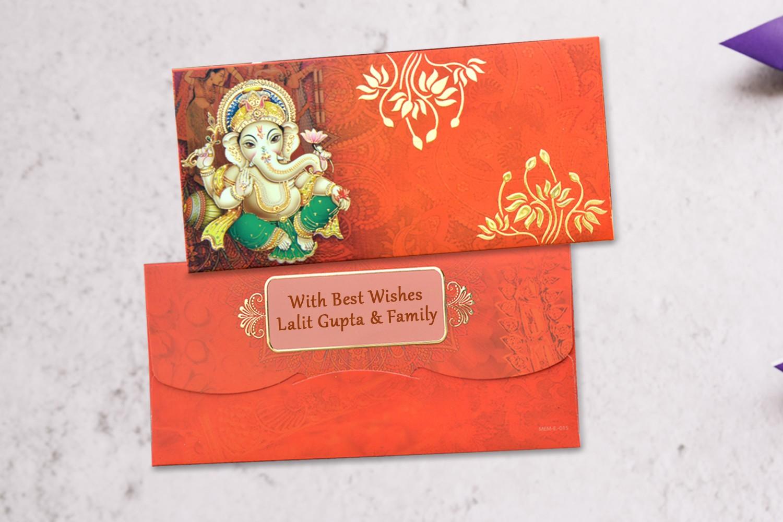 Shree Ganesha Shagun Envelope Personalised- Pack of 12