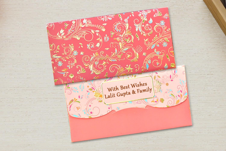 Flamingo Shagun Envelope Personalised- Pack of 12