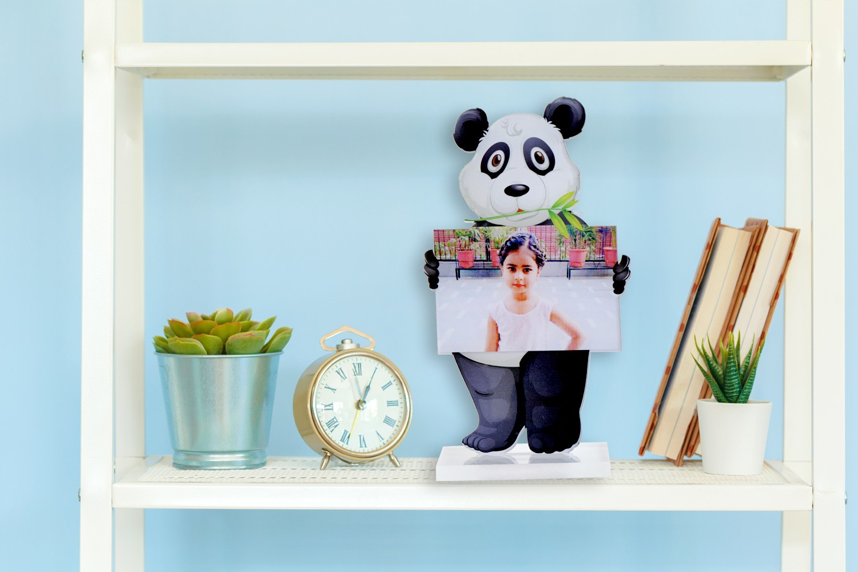 Click with Panda Acrylic Cartoon Photo Stand