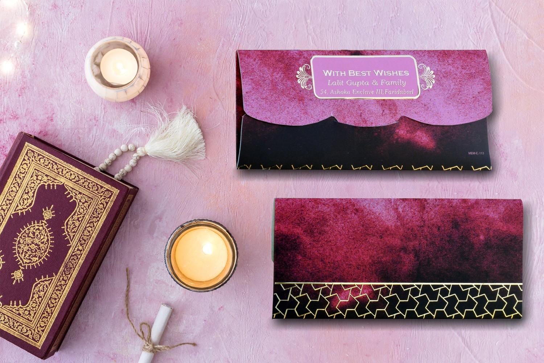 Zig-Zag Border Personalised Shagun Envelopes Premium- Pack of 20