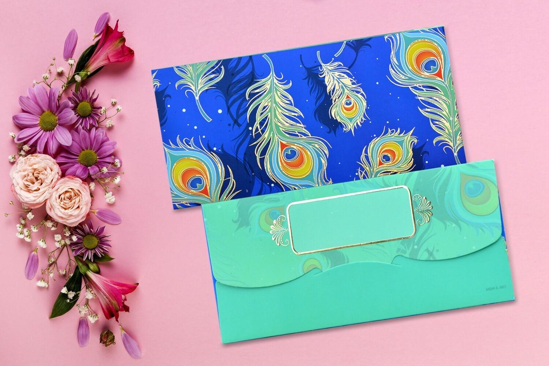 Peacock feather Designer Shagun Envelopes - Pack of 12