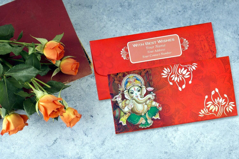 Shree Ganesha Personalised Shagun Envelopes - Pack of 20