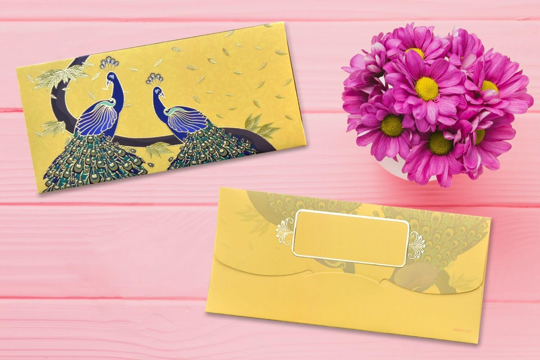 Yellow Peacocks Design Shagun Envelope - Pack of 12