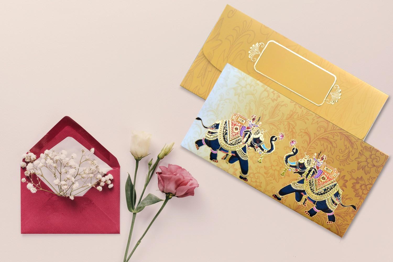 Rajwada Theme Shagun Envelope - Pack of 12(With Luxor Marker)