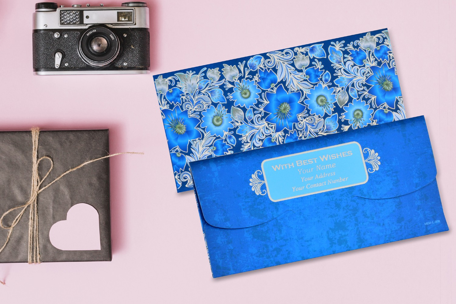 Blue Floral Personalised Shagun Envelopes - Pack of 20