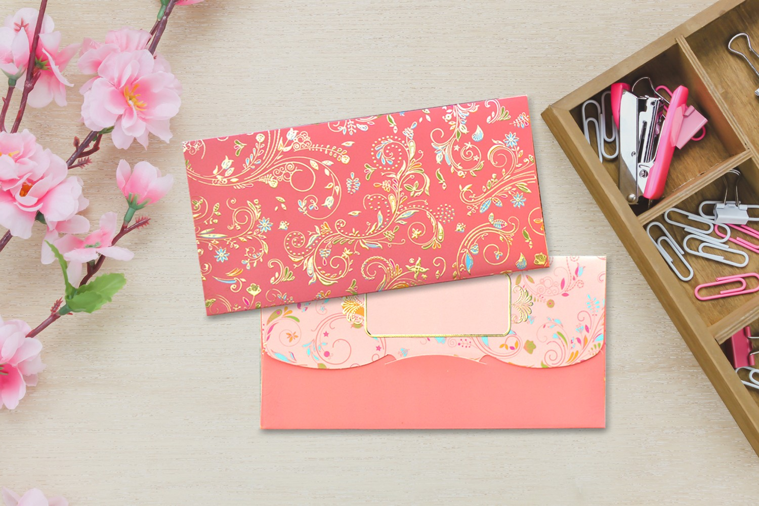 Peach Blossom Shagun Envelope - Pack of 12(With Luxor Marker)
