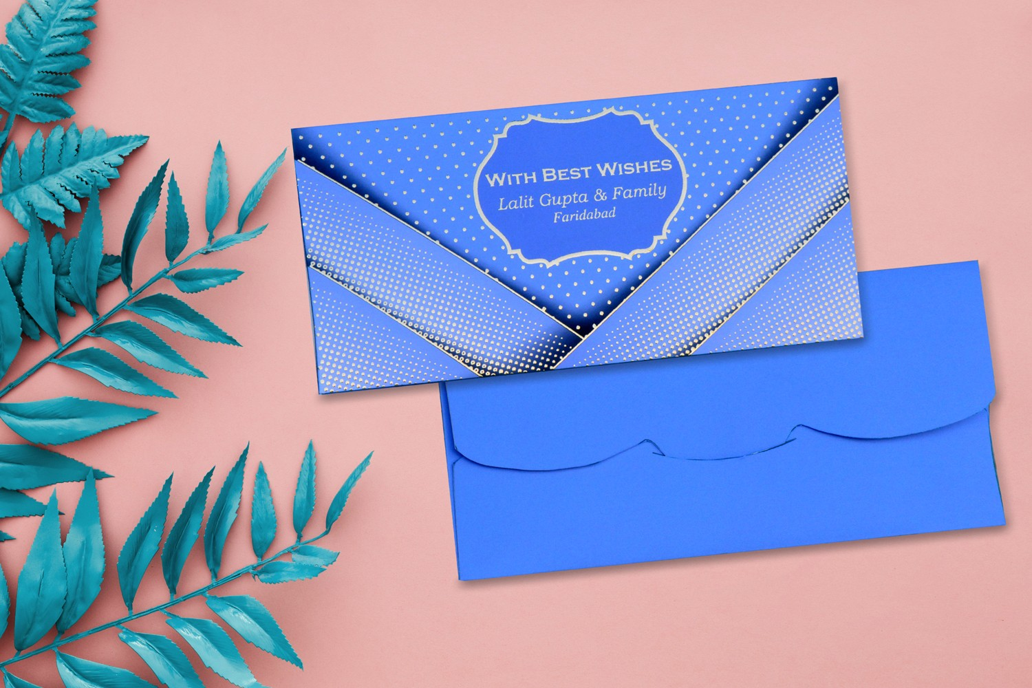 Royal Blue Pocket Style Personalised Shagun Envelope - Pack of 20