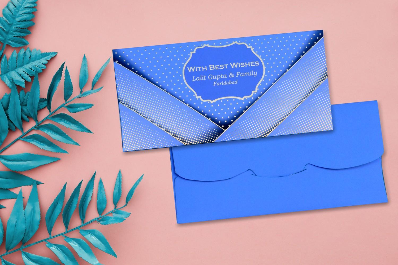 Royal Blue Pocket Personalised Shagun Envelope Premium - Pack of 20
