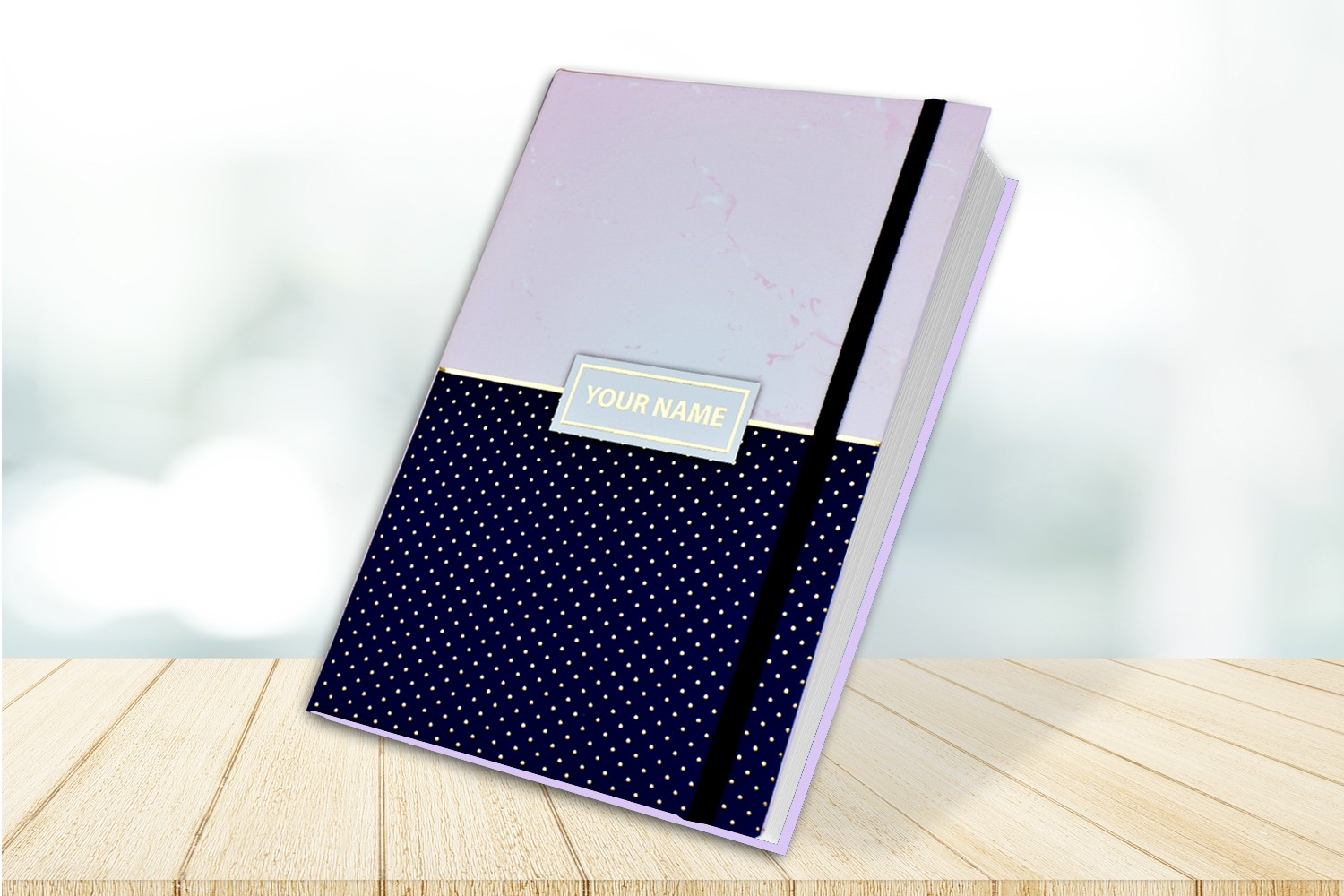 Marble & Blue Dots Personalised Notebook