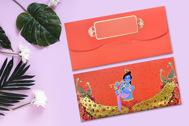 Shree Krishna Designer Shagun Envelopes - Pack of 12